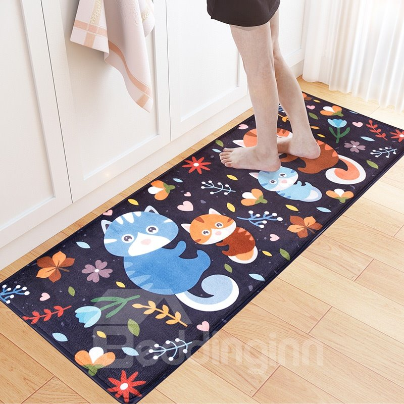 Cartoon Style Water Absorption Flannel Hand Wash Area Rug