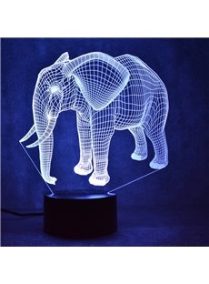 Elephant 3D LED 7 Color Changing Table Lamp USB Night Light/Lamp