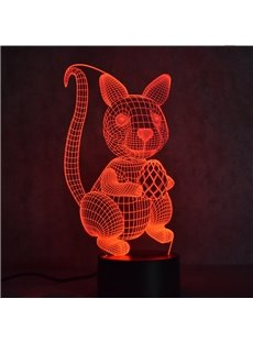 Squirrel 3D LED 7 Color Changing Table Lamp USB Night Light/Lamp