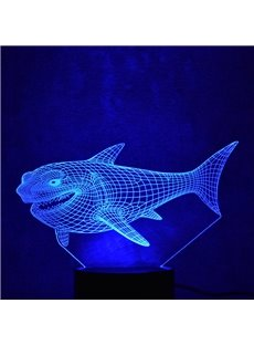 3D LED 7 Color Changing Big Mouth Shark Table Lamp USB Night Light/Lamp