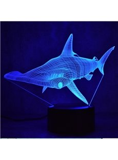 3D LED 7 Color Changing Cool Shark Table Lamp USB Night Light/Lamp