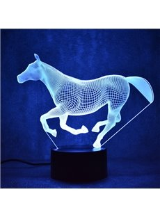 3D LED 7 Color Changing Running Horse Table Lamp USB Night Light/Lamp