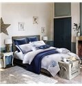 Starfish and Coral Embroidery Blue Cotton 4-Piece Bedding Sets/Duvet Cover