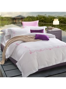 Simple Plain Embroidery Elegant Cotton 4-Piece Bedding Sets/Duvet Cover