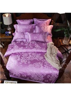 Purple Peonies Jacquard Smooth 4-Piece Polyester Bedding Sets/Duvet Cover