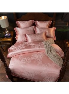 Smooth and Shiny Flower Jacquard Pink 4-Piece Polyester Bedding Sets/Duvet Cover