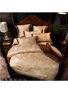 Flower Jacquard Golden Smooth 4-Piece Polyester Bedding Sets/Duvet Cover