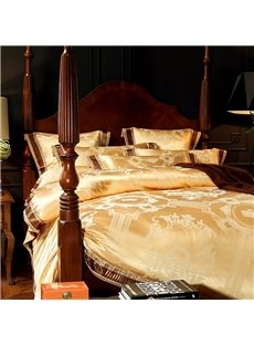 Golden Luxury Geometric Jacquard 4-Piece Polyester Bedding Sets/Duvet Cover