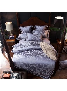 Elegant Flower Jacquard Shiny Light Purple 4-Piece Polyester Bedding Sets/Duvet Cover