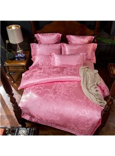 Sweet Pink Floral Pattern Jacquard 4-Piece Polyester Bedding Sets/Duvet Cover