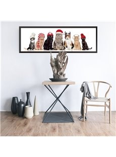 Cats With Hats Creative Christmas Pattern Waterproof PVC Home Decor Wall Stickers