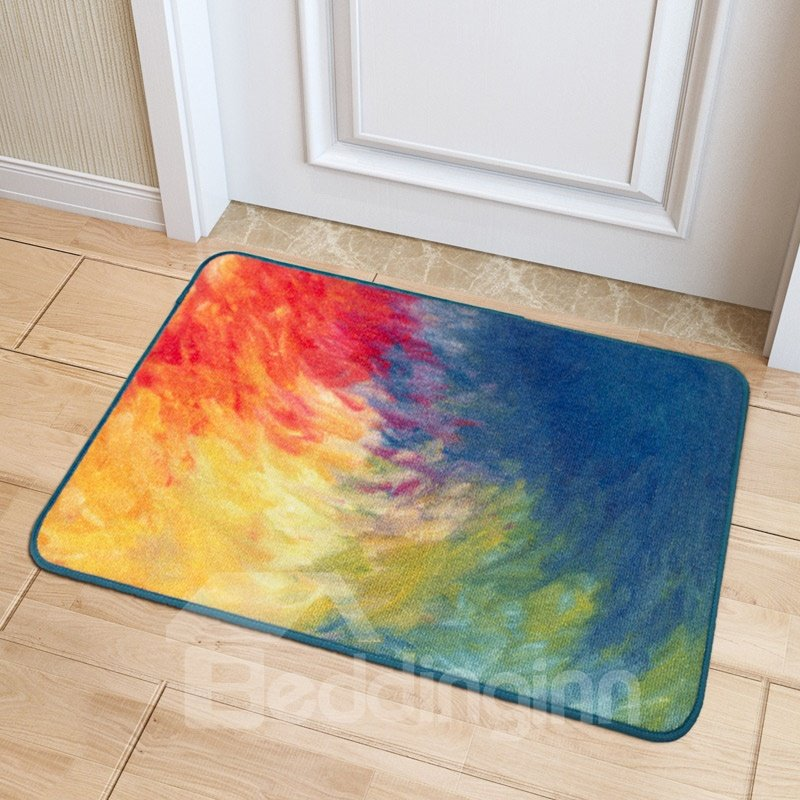 Modern Unique Style Oil Painting Machine Wash Polyester Area Rug