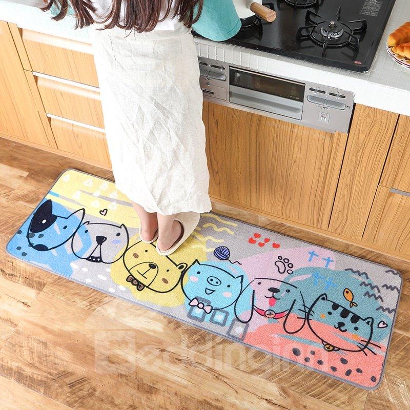 Cartoon Style Bedroom Anti-Slip Water Absorption Polyester Area Rug