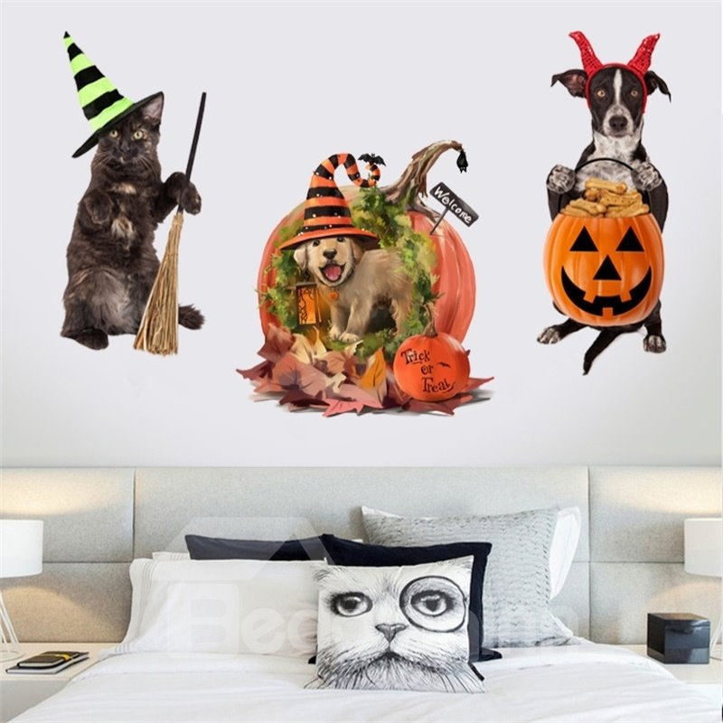 Cute Little Cat And Dog Pattern 3D Waterproof PVC Home Decor Wall Stickers