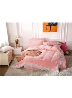 White Lace Design Light Pink 4-Piece Polyester Bedding Sets/Duvet Cover