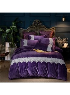 Elegant Lace Pattern Purple 4-Piece Polyester Bedding Sets/Duvet Cover