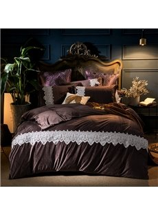 Plain Pattern Dark Coffee 4-Piece Polyester Bedding Sets/Duvet Cover