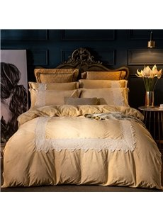 Lace Square Pattern Camel 4-Piece Polyester Bedding Sets/Duvet Cover