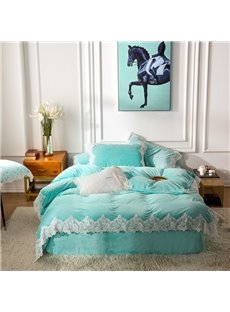 Solid Color and Lace Design Light Blue 4-Piece Polyester Bedding Sets/Duvet Cover