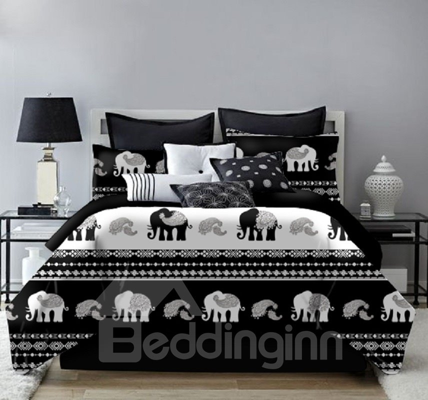 Bohemia Style and Elephant Black and White Printing 4-Piece Polyester Bedding Sets/Duvet Cover