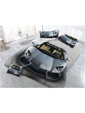 Sliver Sports Car Printing 3D 4-Piece Polyester Bedding Sets/Duvet Cover