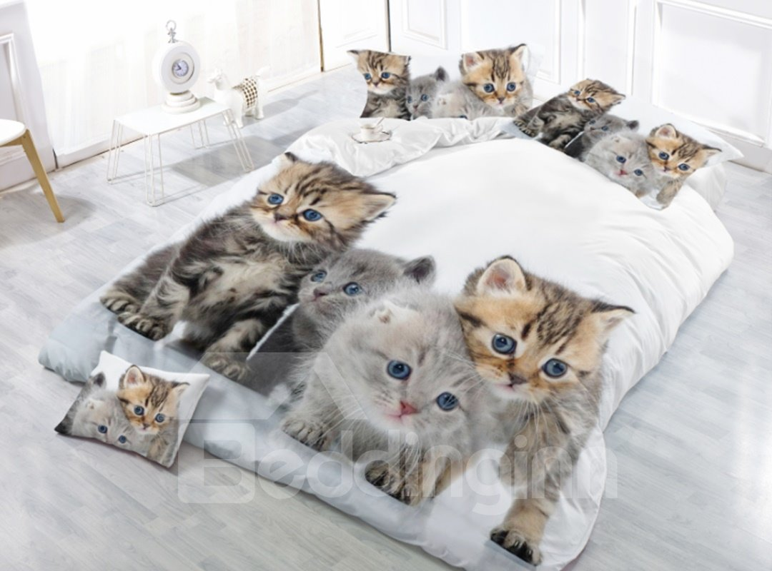 Lovely Little Cats Digital Printing Polyester 4-Piece 3D Bedding Sets /Duvet Cover
