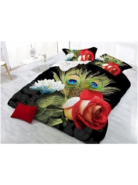 Red Rose and Peacock Feather Printing Polyester 4-Piece 3D Bedding Sets/ Duvet Cover