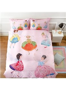 Cotton Material Unique Design Fairy Pattern Princess Style 4-Pieces Girl Bedding Sets/Duvet Cover