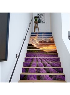Lavender Field 6/13 Piece PVC Waterproof Eco-friendly Self-Adhesive Stair Mural