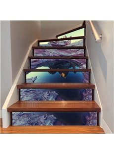 Mountain And Lake 6/13 Piece PVC Waterproof Eco-friendly Self-Adhesive Stair Mural
