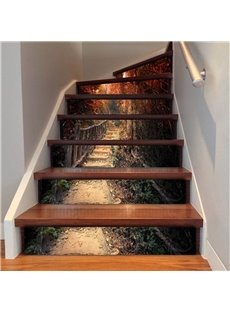 Mountain Path 6/13 Piece PVC Waterproof Eco-friendly Self-Adhesive Stair Mural