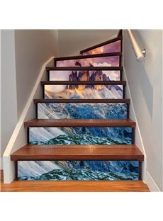 Grand Mountain Pattern 6/13 Piece PVC Waterproof Eco-friendly Self-Adhesive Stair Mural