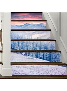 3D Snow Landscape 6/13 Piece PVC Waterproof Eco-friendly Self-Adhesive Stair Mural