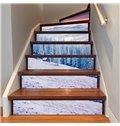 3D Snow Landscape 6/13 Piece PVC Waterproof Eco-friendly Self-Adhesive Stair Mural