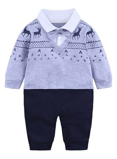 Gray Elk Pattern Long Sleeve Cotton Material Fastener Infant Jumpsuit/ Baby Bodysuit