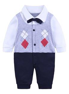 Long Sleeve Cotton Material Fake Vest Pattern Fastener Infant Jumpsuit/ Baby Bodysuit