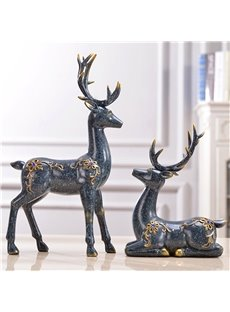 Couple Deer With Diamond Living Room Resin Desktop Decoration