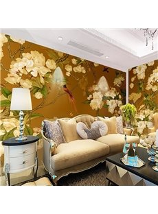 Non-woven Fabrics Environment Friendly Waterproof Yellow Classic Birds Wall Mural