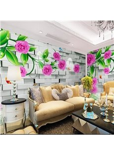 Non-woven Fabrics Environment Friendly Waterproof Flower Pattern Wall Mural