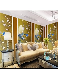 Non-woven Fabrics Environment Friendly Waterproof Classical Birds Pattern Wall Mural