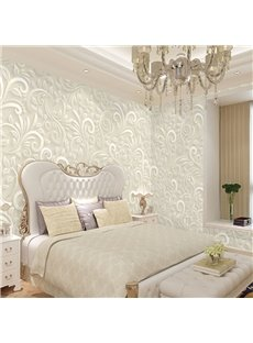 Environment Friendly Waterproof Non-woven Fabrics White Elegant Flower Pattern Wall Mural