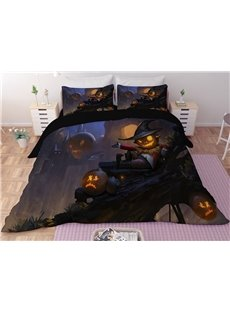 Halloween Pumpkin Lantern Printing 3-Piece 3D Bedding Sets/Duvet Covers