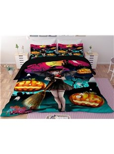 Pumpkin Lantern and Witch Halloween Printing 3D 3-Piece Bedding Sets/Duvet Covers