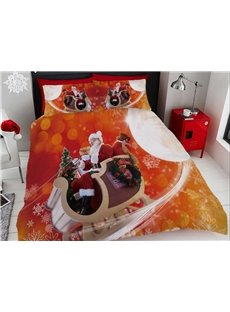 Santa Claus Bring Presents Printing Cotton 4-Piece 3D Bedding Sets/Duvet Covers