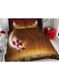 Santa Claus and Moon Christmas Digital Printing Cotton 4-Piece 3D Bedding Sets/Duvet Covers