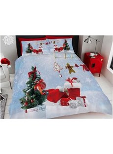 Christmas Tree and Crafts Snow Printing Cotton 3D 4-Piece Bedding Sets/Duvet Covers
