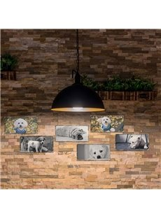 Cute Pup Pattern Creative Retro Style Rectangle Waterproof PVC Home Decor Wall Stickers