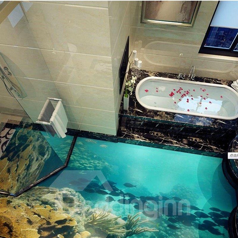 3D Deep Sea PVC Non-slip Waterproof Eco-friendly Self-Adhesive Floor Murals