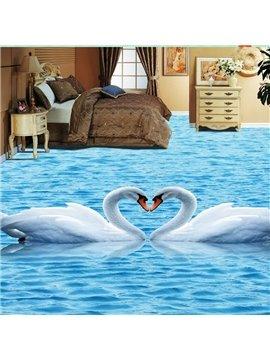 3D Swan PVC Non-slip Waterproof Eco-friendly Self-Adhesive Floor Murals