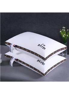 Paris and Eiffel Tower Printing Solid White Cotton Bed Pillow